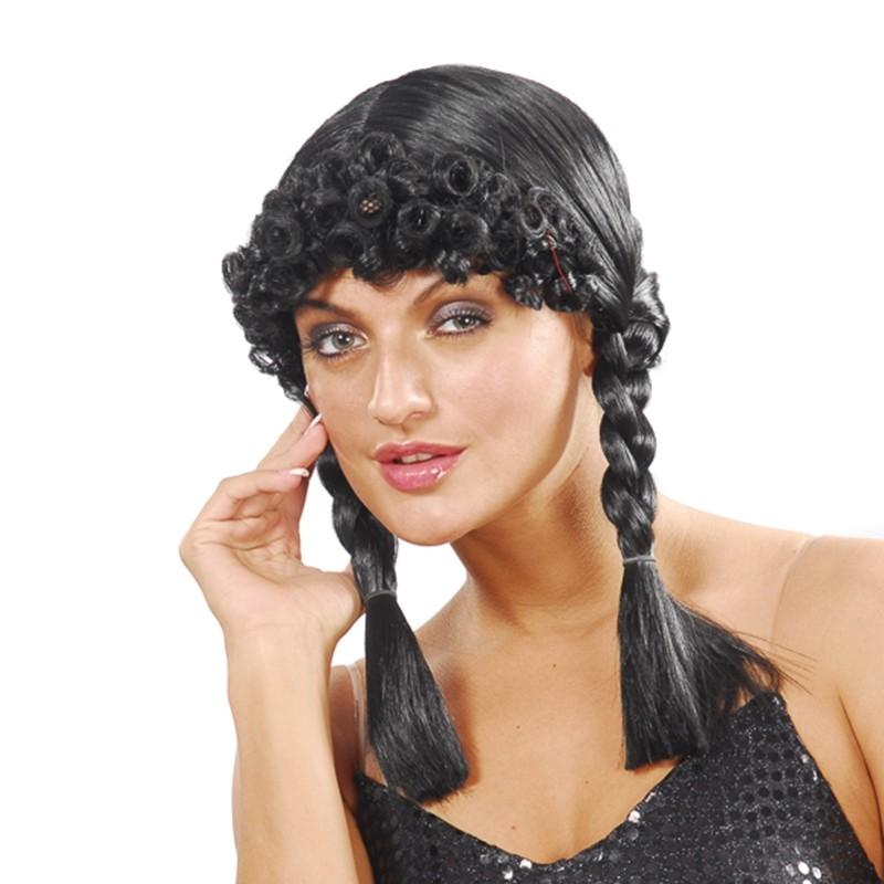 peluca negra con trenzas y flequillo