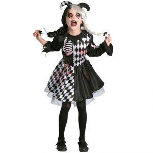Disfraz de Niña arlequina diabolica