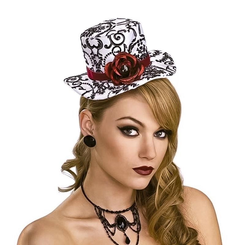Chapéu de tamanho mini branco com pormenores em preto e rosa encarnada