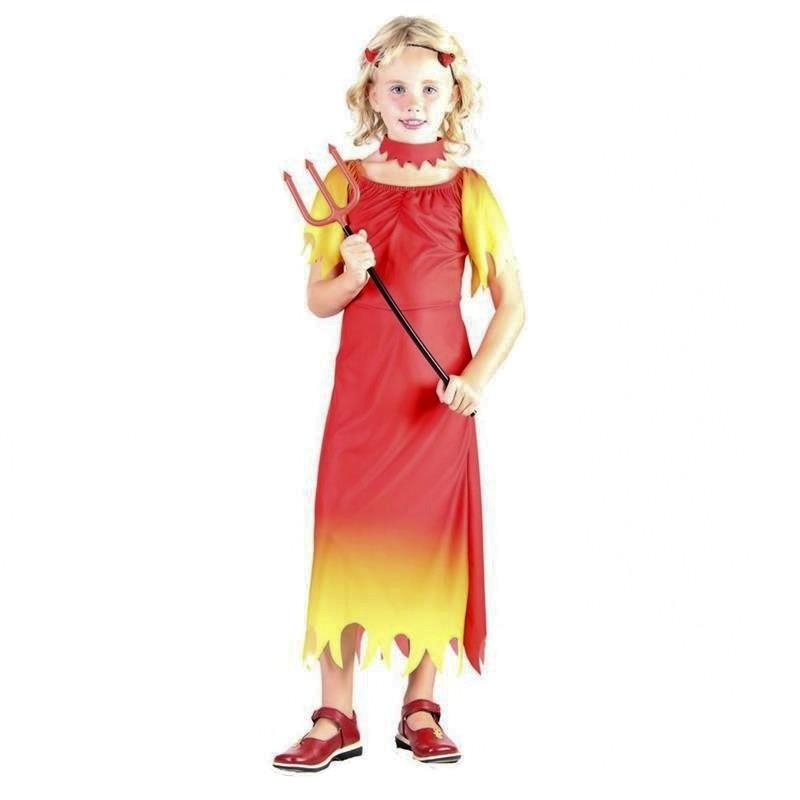 Disfarce Menina diabo com vestido, gargantilha e cornos