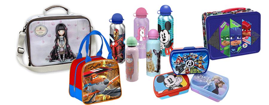 lancheiras, garrafas de água, mochilas